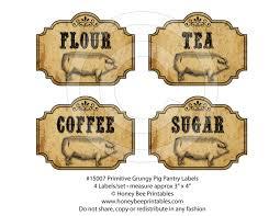 primitive grungy kitchen pantry farmhouse labels pig