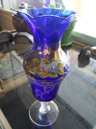 Cobalt Blue Vases Vintage Cobalt Blue Vase Czech Bohemian 3 Vases Blue Glass Bud