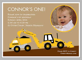 backhoe and dump truck birthday invitations cute diggers and