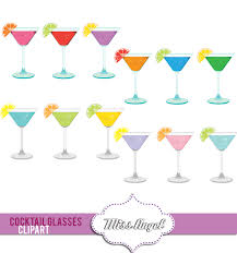 martini glasses clipart colorful digital cocktail glasses drinks