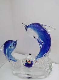 dolphin home decor murano blue crystal glass fish sculpture vintage italian fish