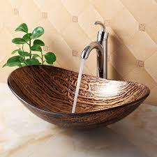 1211 tempered glass vessel sink melt multicolor pattern