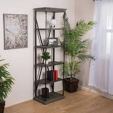 5 Shelf Ladder Bookcase by Amazon Com Brennon 5 Shelf Industrial Dark Tan Grey Wood