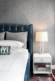 Contemporary Blue Bedroom - dark blue tufted headboard contemporary bedroom atmosphere
