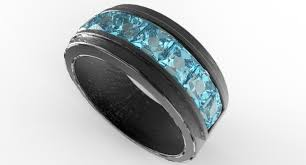 black mens wedding ring men s black gold channel set aquamarine wedding band vidar