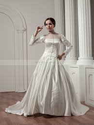 long sleeved high neck buttoned satin and tulle wedding dress