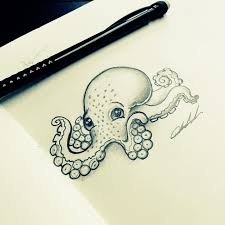 drawn octopus pencil and in color drawn octopus