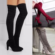womens boots heels knee shoes high heel winter autumn slip on leisure lace up