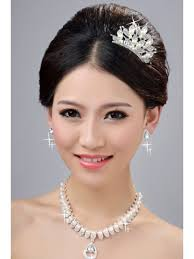 wedding headpieces pearls alloy clear crystals wedding headpieces necklaces earrings set 5 1 jpg