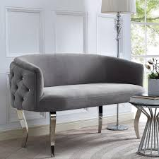 White Tufted Loveseat Gray Tufted Back Skirted Loveseat