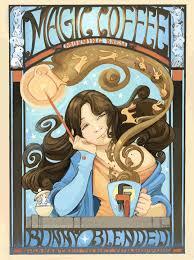 Coffee Magic illustrations and comic magic coffee poster
