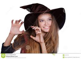 teen wearing halloween witch costume royalty free stock