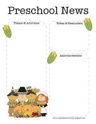 november thanksgiving preschool newsletter template preschool