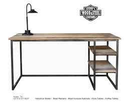 reclaimed wood desk for sale wood and metal desk buy a custom made industrial reclaimed wood desk