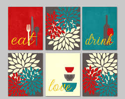 teal and red decor etsy