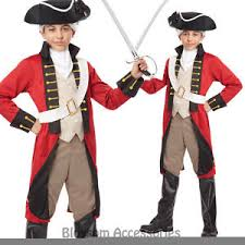 Red Coat Halloween Costume Ck602 British Red Coat Colonial Uniform Fancy Dress Boys Kids