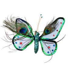gisela graham mesh peacock feather decorative butterfly 18cm