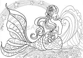 big beautiful mermaid colouring page from jensartylife on etsy studio