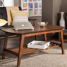 baxton studio dauphine coffee table baxton studio sacramento mid century medium brown wood finished