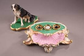 australian shepherd jewelry parisian porcelain inkstand decorated with sitting dog