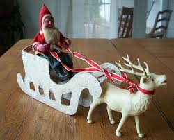 vintage paper mache santa with sleigh and reindeer from