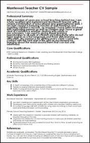 Resume Samples For Teaching by Montessori Teacher Cv Sample Myperfectcv