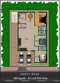 280 sq yds 42x60 sq ft north face house 3bhk floor plan for more 280 sq yds 42x60 sq ft north face