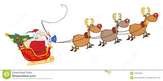 santa in flight with his reindeer and sleigh royalty free stock
