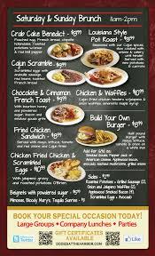 menu for brunch weekend brunch 11 am to 2 pm dodie s cajun diner at the harbor