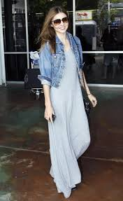 what to wear with a maxi dress miranda kerr denim jackets and