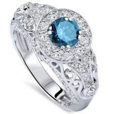 1 50ct blue diamond vintage engagement ring 14k white gold art