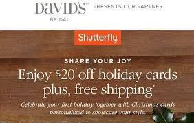 shutterfly black friday david u0027s bridal subscribers possible 20 off holiday cards at