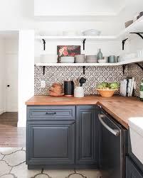 Concrete Tile Backsplash by California Country Kitchen Emily Henderson Blue Wood Concrete Tile