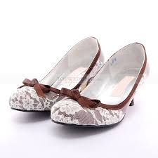 wedding shoes mid heel two toned lace leather mid heel wedding shoes with bowknot