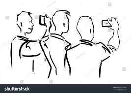 tree men gadgets sketch men taking stock illustration 631579484