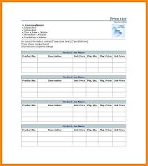 sample price list sample price list template 5 documents download