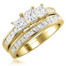 yellow gold bridal sets 14k yellow gold princess cut three diamond bridal set ring