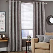 Lined Grey Curtains Vermont Monochrome Eyelet Lined Curtains Dunelm
