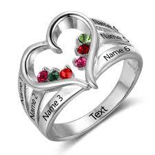 rings with birthstones and names personalised birthstone rings alep jewellery