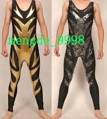 new fancy men wrestling clothes costumes gold and silver lycra