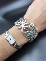 cuff bracelet sterling images Silpada hammered sterling silver wide cuff bracelet turquoise hematite jpg