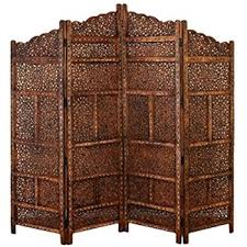 Moroccan Room Divider 4 Panel Moroccan Style Carved Solid Wood Screen