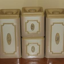 metal kitchen canisters best vintage retro beige metal kitchen canisters by ekco