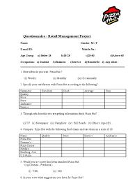 Questionnaire For Home Design by Questionnaire Pizza Hut