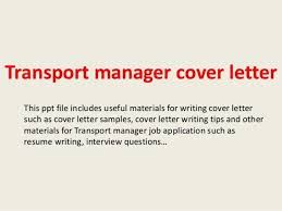 transportation operations manager cover letter
