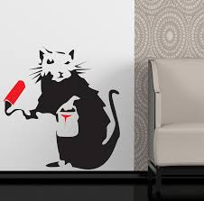 banksy style painting rat wall art sticker decal ebay please use the dropdown tab at the top of the page to select your colour and size requirements