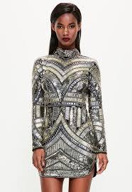 embellished dress peace black high neck embellished bodycon dress missguided