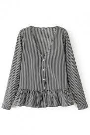 black and white striped blouse v neck sleeve button ruffle hem striped blouse