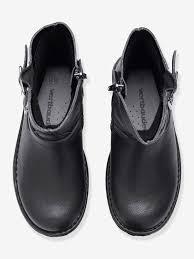 black biker style boots girls u0027 biker style boots shoes vertbaudet
