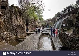 nek chand rock garden in chandigarh punjab india stock photo